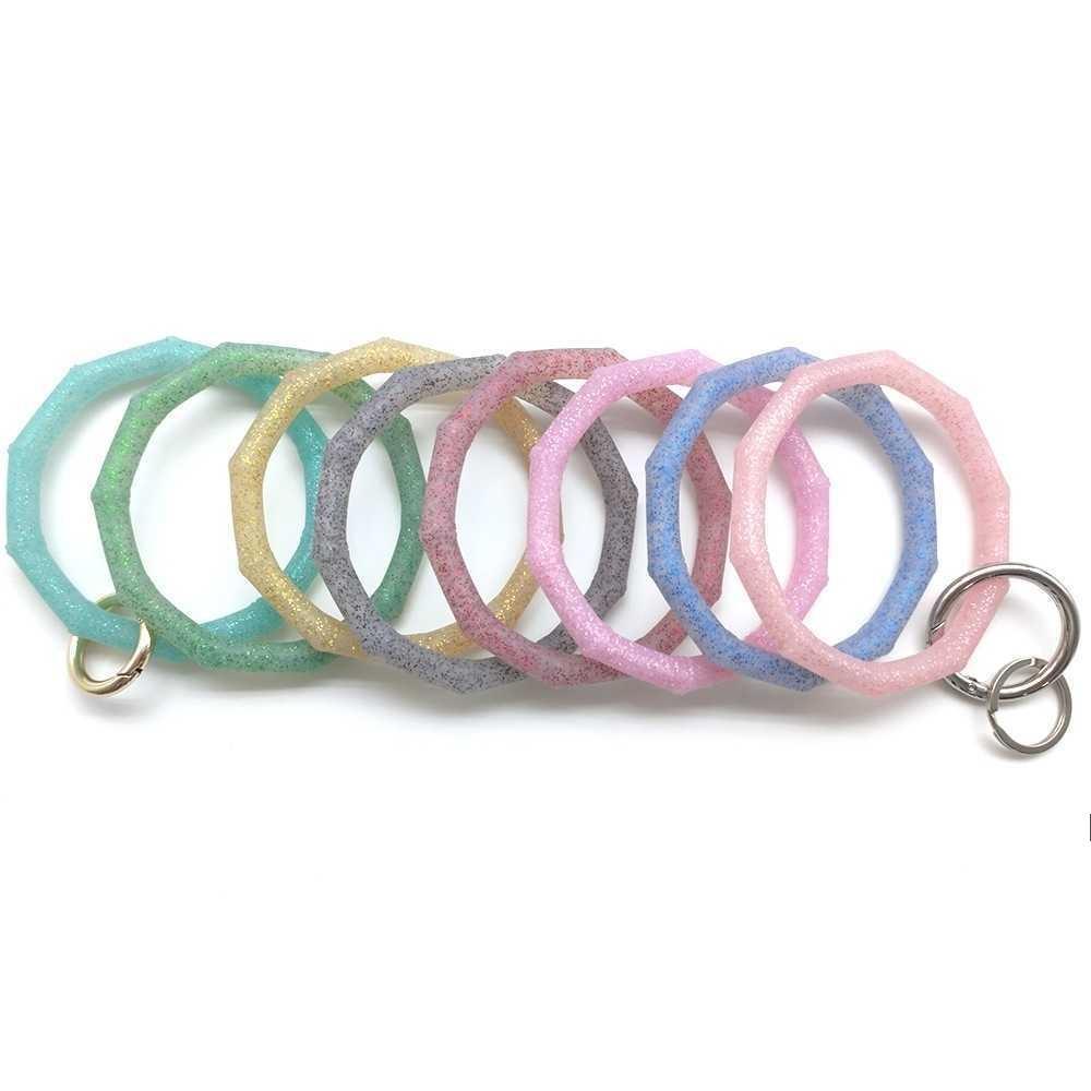 Pulseira de silicone de silicone de bambu retas infantis pulseira de pulseira de silicone kids key anel de chave sólida diversidade pulseira pulseira keychain owa