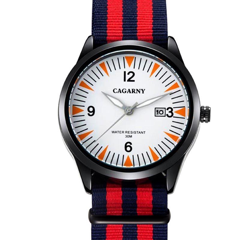 İzle Erkekler Cagarny Marka Moda Lüks Saatler Casual Kuvars Naylon Erkek Spor Saatı Saat Reloj de Lujo