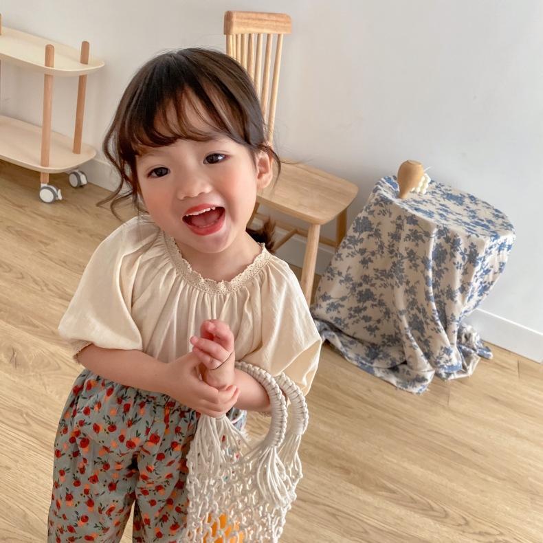 LC الجودة الكورية ins أطفال الفتيات الصغيرات تيز قصيرة الأكمام ابتسامة تي شيرت الصيف أزياء القطن الخالص القمم