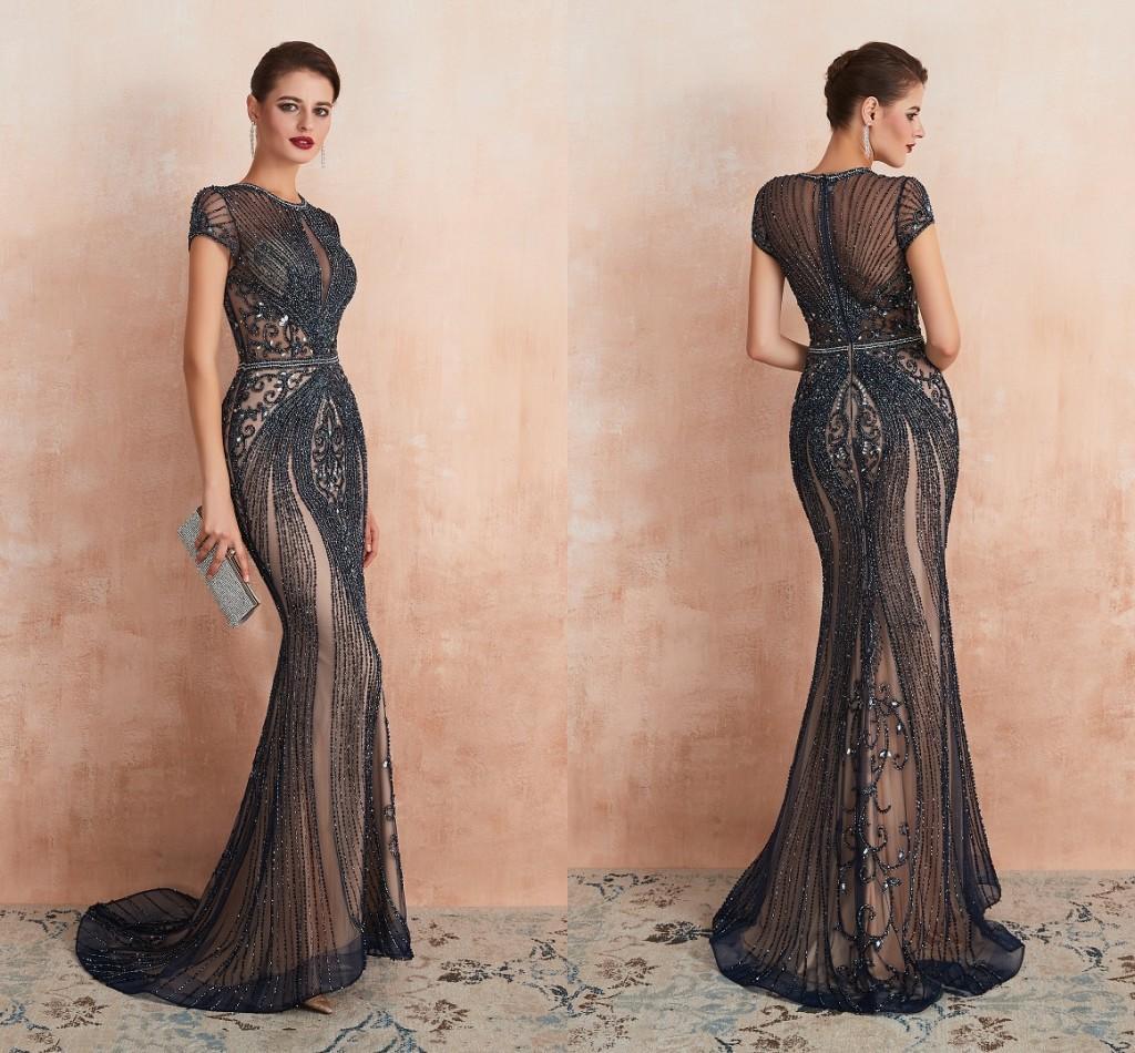 Vestidos de fiesta azul oscuro vestidos de noche de alto grado vestido de fiesta con cremallera con cremallera elegante