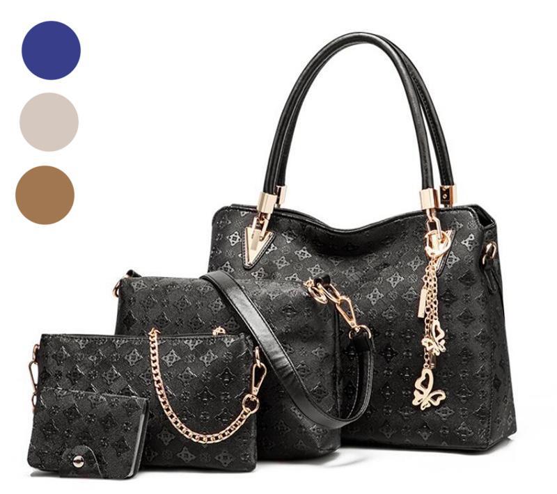 4 stücke Designer Tote Mode Luxus Designer Set für zusammengesetzte Farbmuster Handtaschen Klassische Taschen Schulterkupplung Einkaufstasche Plain B Nkps