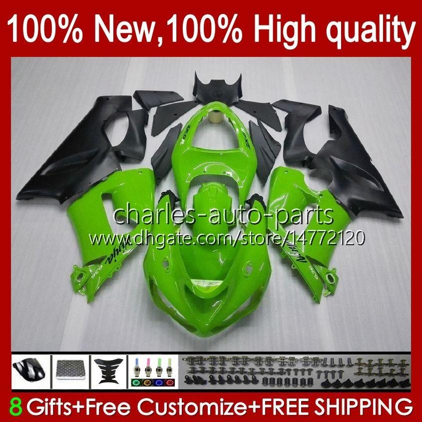 Moto Ciało dla Kawasaki Ninja OEM ZX600C ZX636 ZX 6R 6 R 600CC 05-06 Bodyorks 7NO.5 ZX600 ZX 636 ZX-6R 2005 2006 ZX-600 ZX-636 600 CC ZX6R 05 06 ABS Zestaw Green Green Stock