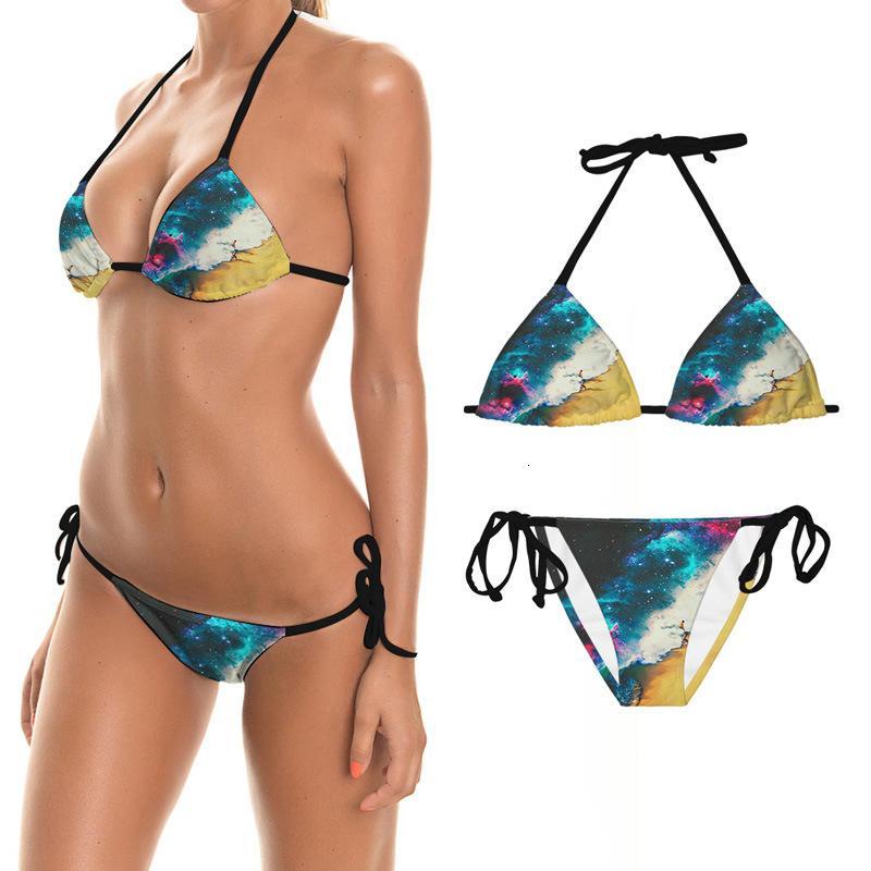 Bikini verano sexy bikini 3D impresión digital serie europea serie de traje de baño dividido