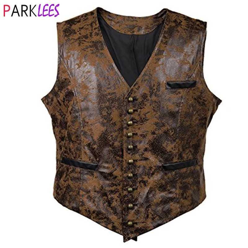 Männer Westen Herren Gothic Steampunk Weder Weste Rivet Button Single Breasted V-Ausschnitt Weste Männer Victorian Aristocrat Cosplay Kostüm 3XL
