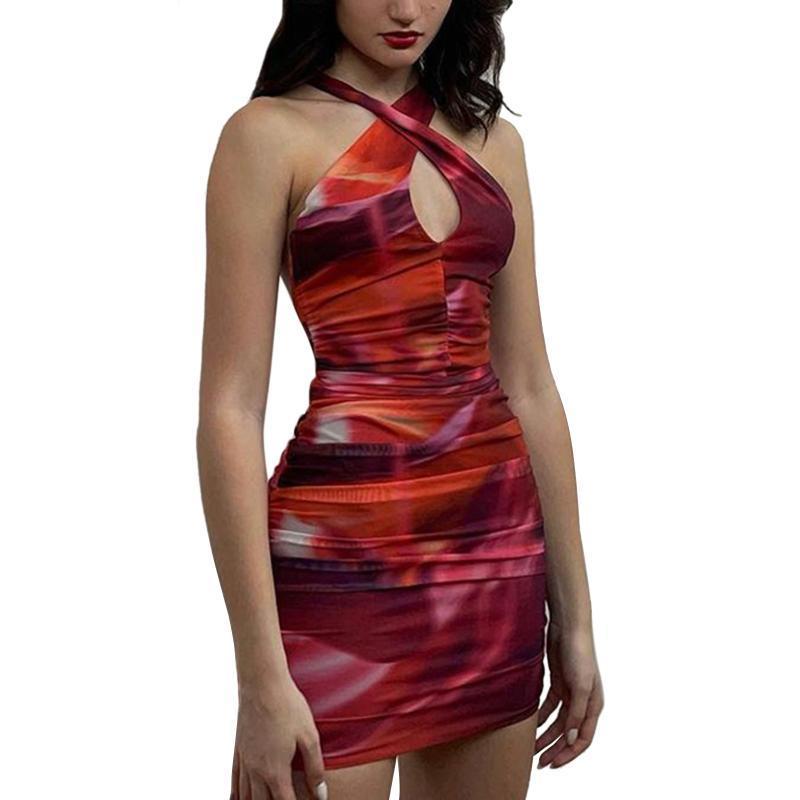 Mulheres Swimwear Mulheres Fechar-se de vestido sexy, vermelho profundo decote em v sem mangas fora do ombro
