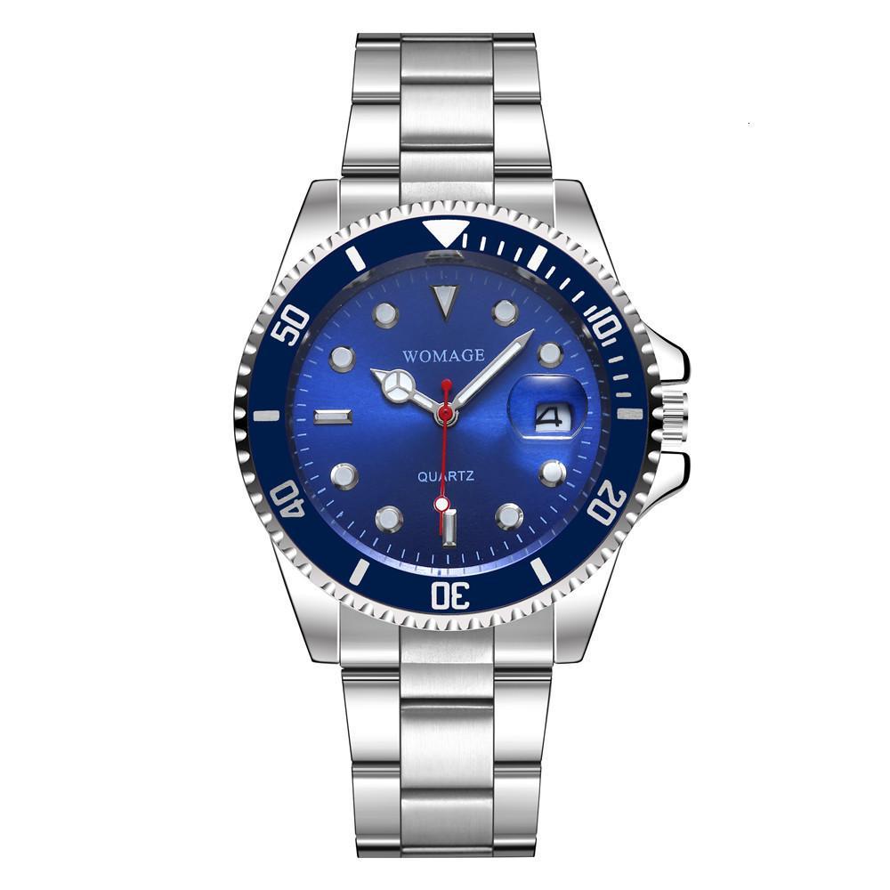Lençóis Único Cinto de Aço Impermeável Grande Calendário de Negócios Quartz Watch Watch Sports Watch