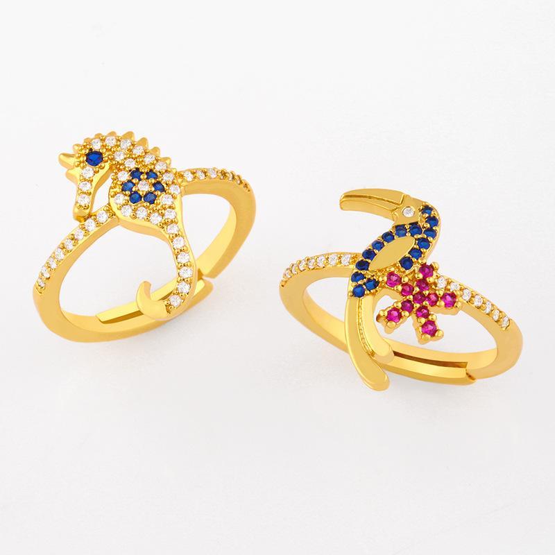 디자이너 새로운 액세서리 큰 부리있는 새는 여성 성격 오션 스타일 다이아몬드 해마 반지 Rij65
