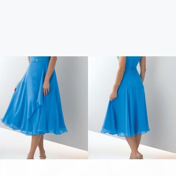 Mütevazı Annenin Elbiseleri Pileli Şifon Cap Sleeve Gelinlik Modelleri Bluetea Uzunluğu Ucuz Anne Gelin Elbiseler Parti Özel Mad