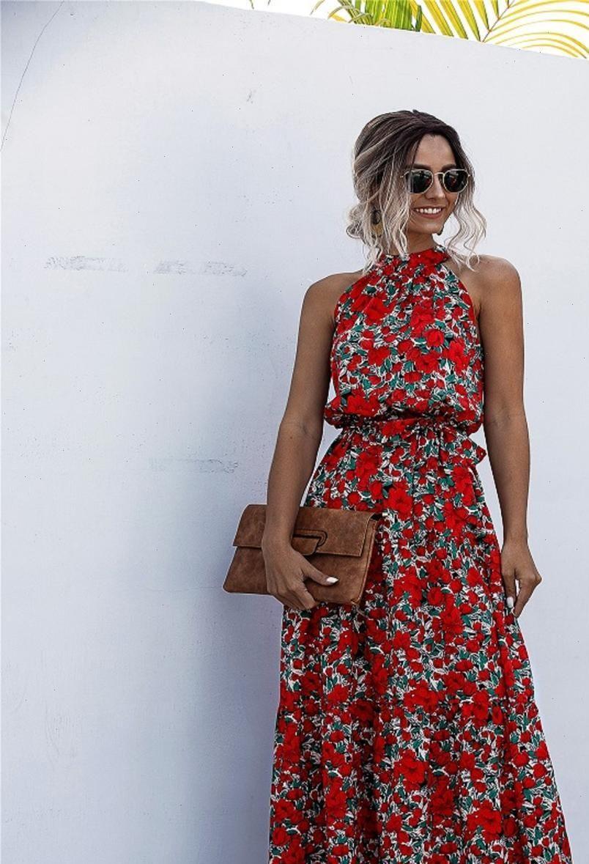 Sommer Langer Tupfen des Sommers Lässig Womens Kleid Midi Schwarz Halfter trägerlosen gelben Sommerkleid Urlaubskleidung für Frauen