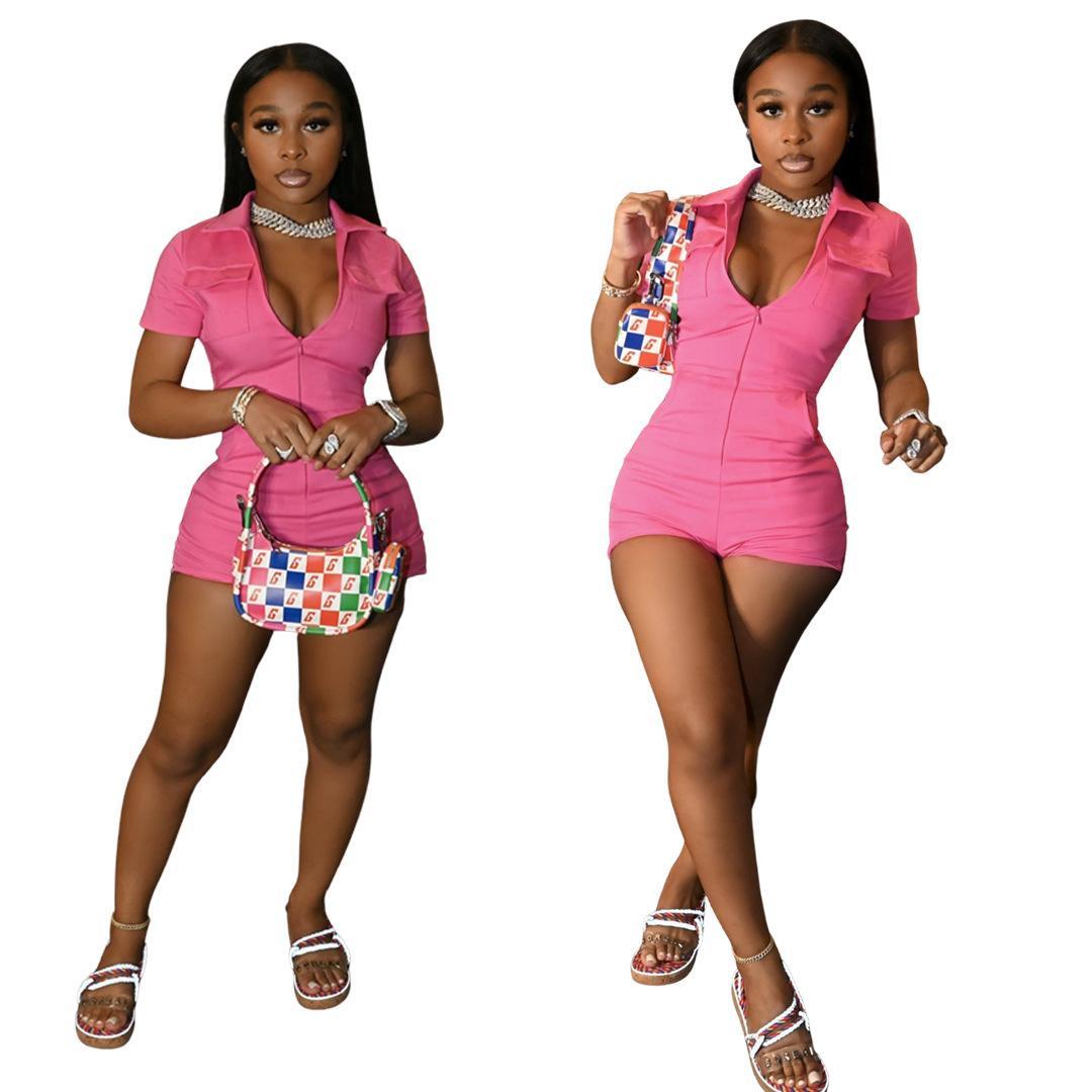 السراويل الصيفية النساء حللا مصمم نيسيس مثير سستة ارتداءها الخامس الرقبة أكمام الأزياء عارضة بلون اللون