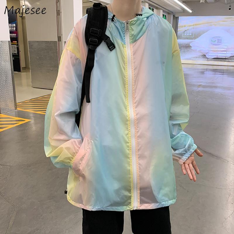 Jaquetas masculinas homens proteção sol zíper casual verão fina simples estilo coreano respirável gradiente moda solta todos os jogos