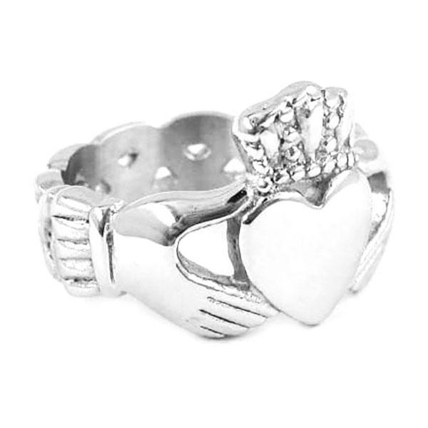 Irish Claddagh Style Celtic Knot Main pour tenir un coeur avec une bague de couronne Bijoux en acier inoxydable SWR0023
