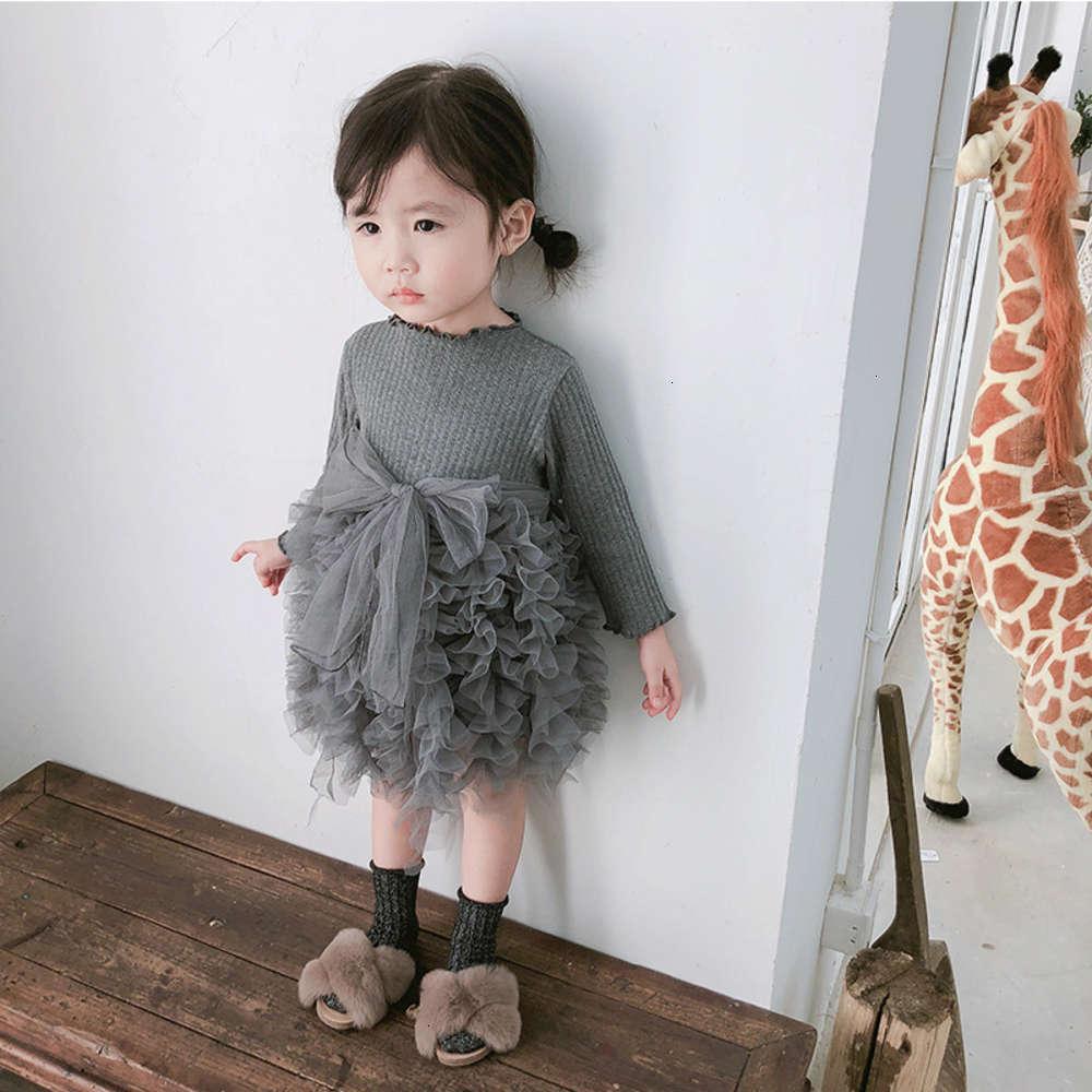 Девушки платья физические съемки, амур МГ обезьяна осенью младенческая юбка лук длинный Сва вязаные дт. Маленькая и средняя детская одежда