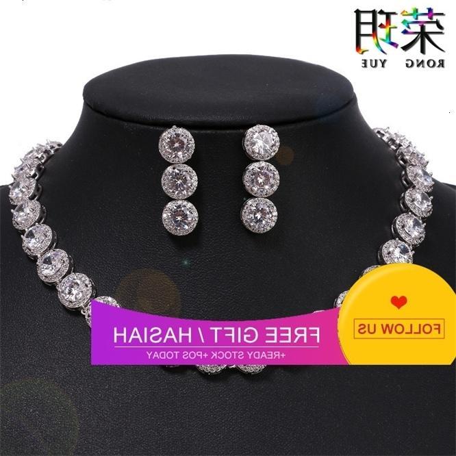 Ornamento nupcial Colar exagerado conjunto redondo zircão brincos acessórios novos jóias