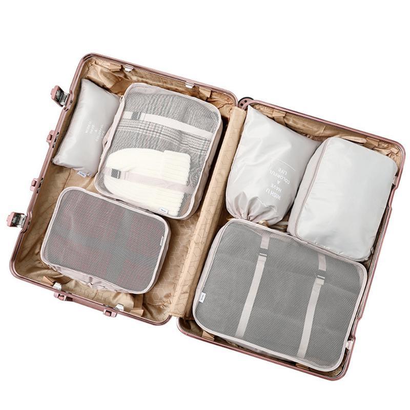 أكياس التخزين 6 قطع حقيبة سعة كبيرة مجموعة الملابس الرباط البوليستر ماء أحذية السفر حالة خزانة شبكة جيوب سستة
