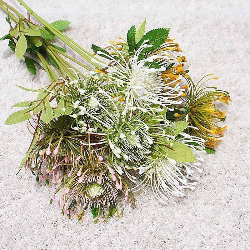 Dekorative Blumen Kränze 3 Gabeln Künstliche Blumenstrauß Hochzeit Brautzubehör Real Touch Fälschung für Hausgarten Dekoration