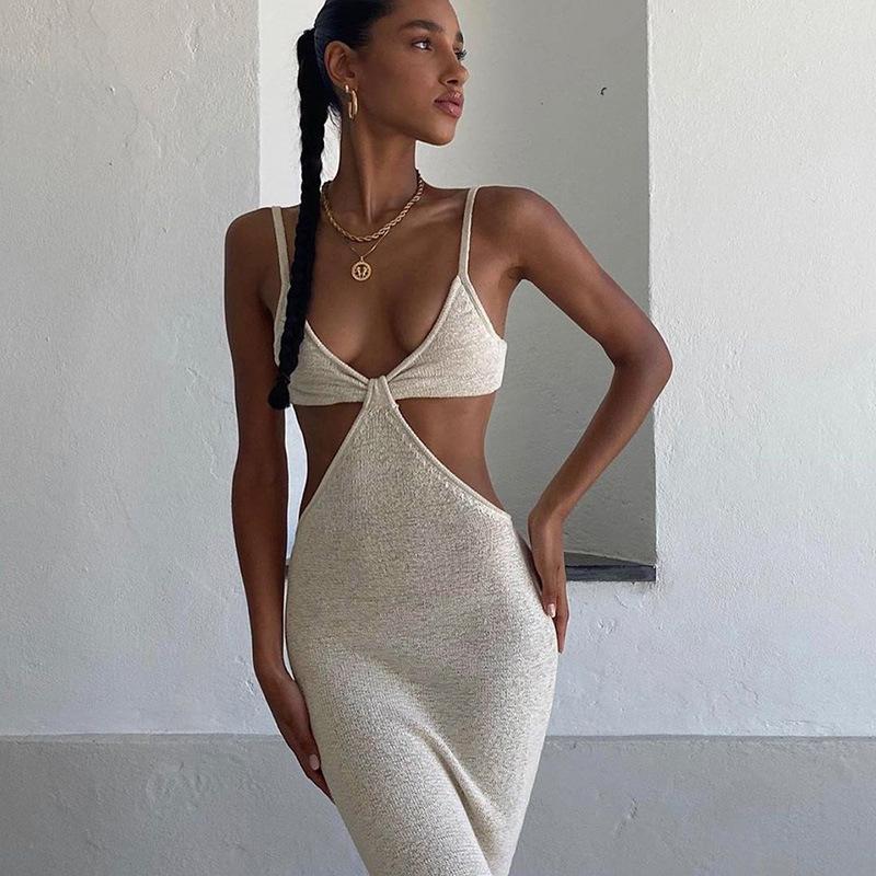 Frauenkleid Sexy Sling Rock Temperament Elegante Slim Party Kleidung Runway Kleider Stricken Feste Farbe Frühling Sommer