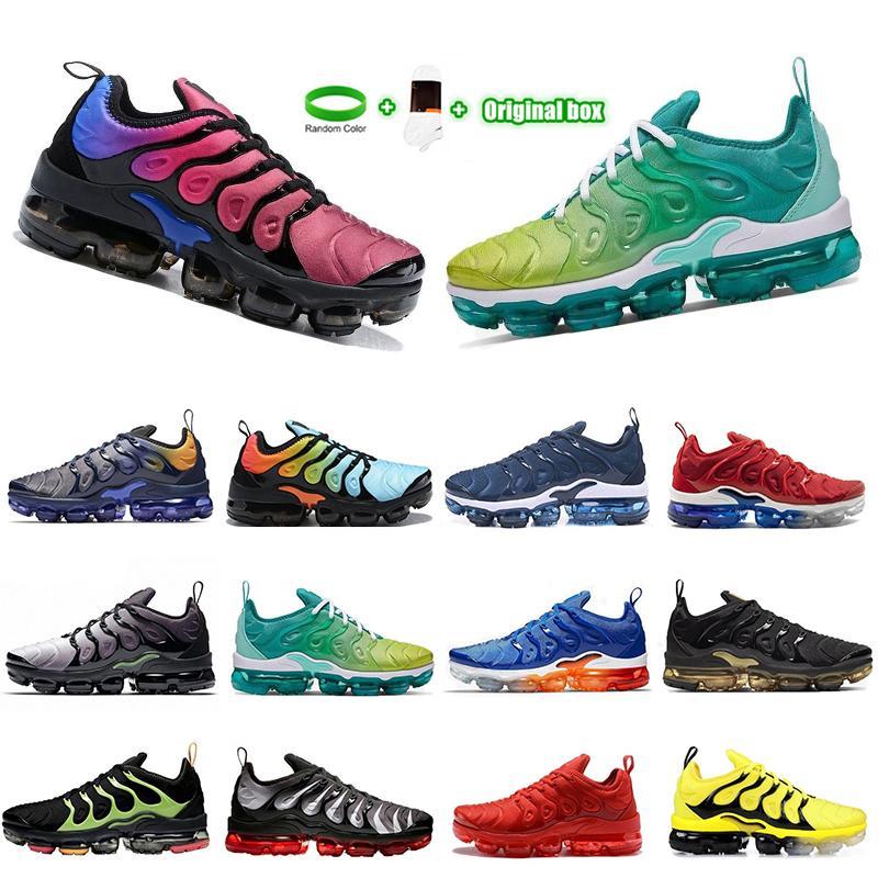 [Bilezik + Çorap + Orijinal Kutu] 2021 Spor Ayakkabı TN Artı Koşu Ayakkabı Üçlü Siyah Erkek Kadın Eğitmenler Patlıcan Beyaz Gümüş Volt Boyutu 40-45 Fiyat Sneakers