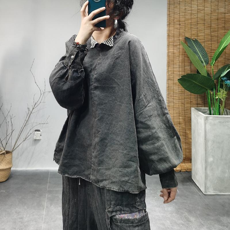 Camicetta per le donne Blouse della patchwork della biancheria Le signore Camicia di lino Top femminili Retro Primavera Autunno Camicette Camicette Plus Size Donne