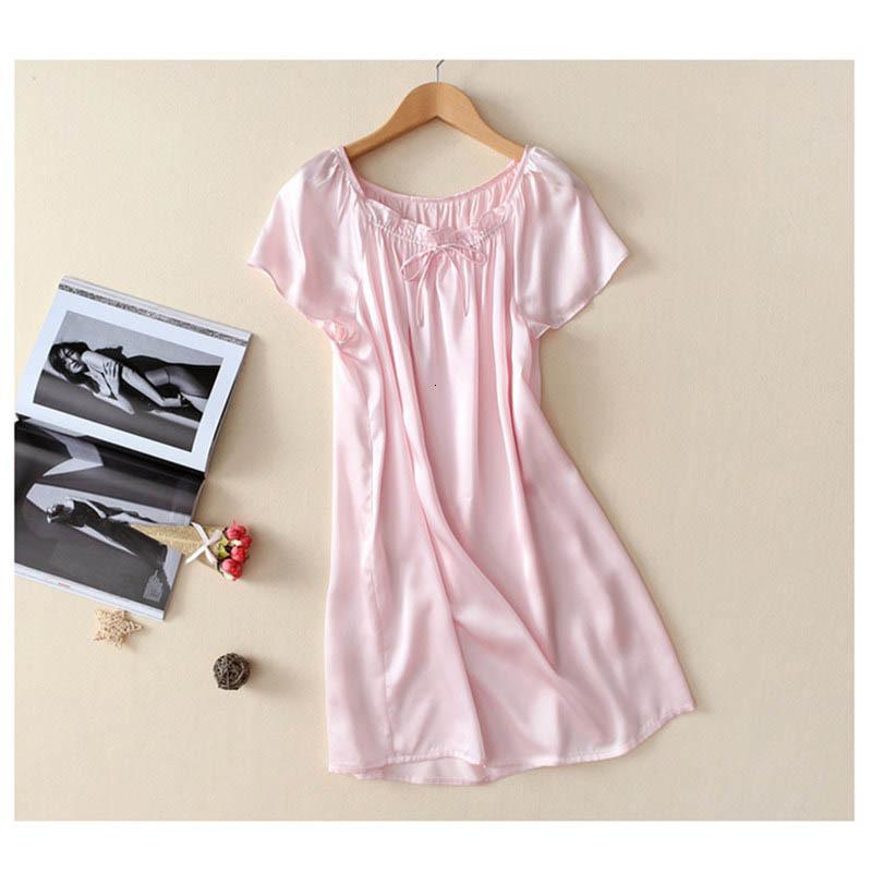 Novo 100% puro camisola de seda nightdress básico sleepwear macio moda vestido de verão para cuidados com a pele Multicolor