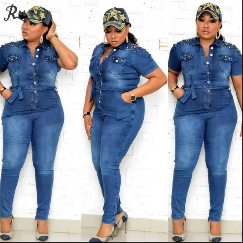 Plus Size Energetic Solid Women Rompers Blue Jean Elegant Sexy Fashion Full Sleeve Sporty Jumpsuits