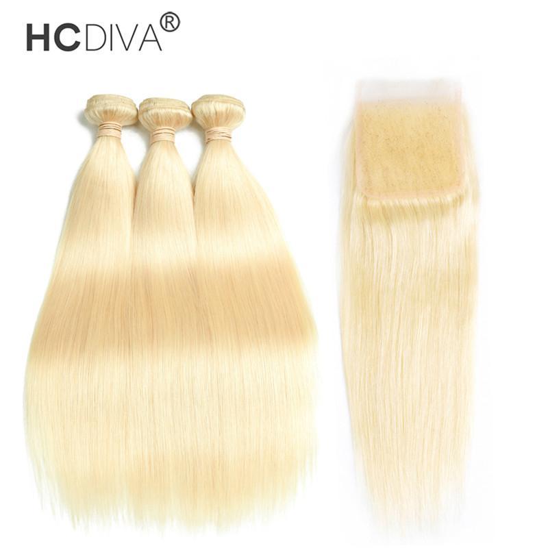 브라질 버진 헤어 묶음 폐쇄 613 정면 10-30 인치 스트레이트 인간의 머리카락 3 번들 4 * 4 폐쇄 HCDIVA와 함께 금발 번들