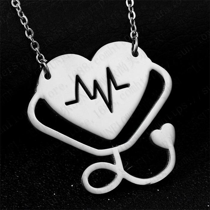 Moda médica estetoscópio colar de aço inoxidável eu te amo coração estetoscópio colar jóias para enfermeira doutor presente jóias 105 m2
