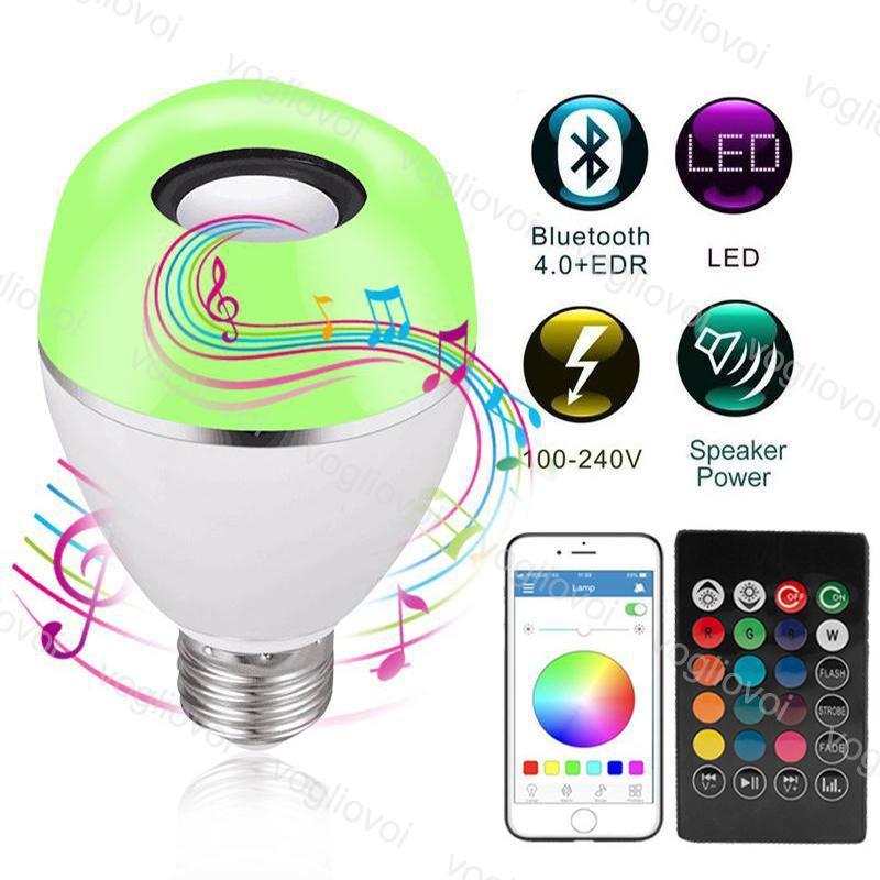 LED 전구 9W 스마트 E27 4.0 블루투스 RGB 음악 재생 디 밍이 가능한 무선 전구 실내 홈 장식 조명 램프 DHL