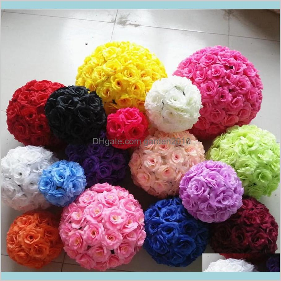 Dekoratif Çiçekler Çelenkler Şenlikli Parti Malzemeleri Ev Bahçe 20 Renkler Yüksek Kaliteli Düğün Dekorasyon Centerpieces Öpüşme Top AR