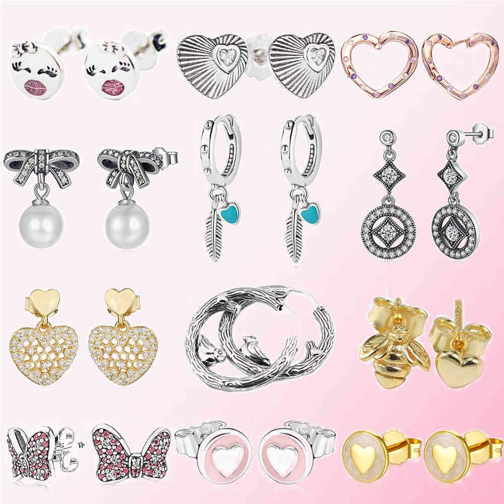 100% 925 Sterling Silver Classic Authentic Love Bee Pearl Earrings Charm Fashion DIY Jewelry For Women
