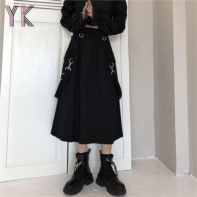 Elastische Hohe Taille Kette Tasche Cargo Strap Midi Röcke Dark Academia Black Gothic Harajuku Lange Vintage Frauen Punk Saia