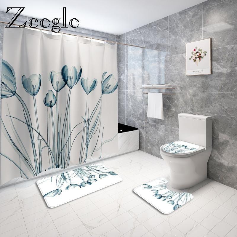 Tapis de salle de bain imprimé floral Tapis de bain Tapis de bain en polyester Rideau de douche imperméable à la maison Décor Toilette Tapis de pied anti-glissement