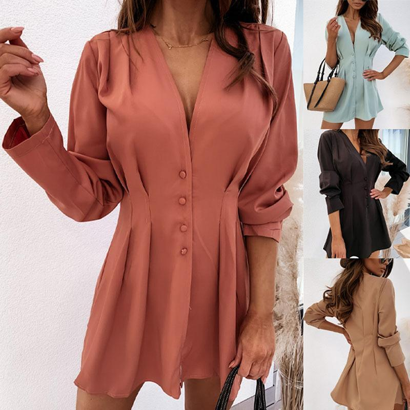 Fashion Women's Summer Ladies Long Sleeve Loose Blouse Casual Shirt Dress Tunic Tops V Neck Button Down Top Blouses & Shirts
