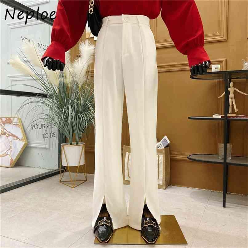 Alta cintura Cintura Split Design Calças Retas Mulheres Trabalho Estilo Ol Calças Sólidas Femme Primavera Outwear Pantalones 210521