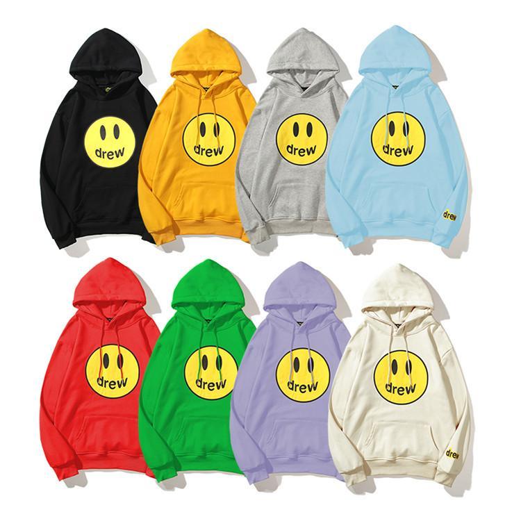 8 colori Mens Designer Felpe con cappuccio Drewhouse Smiley Justin Bieber High Sreet Felpa manica lunga sciolta