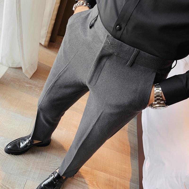 Pantalon de costume de couleur massif pour hommes classique vintage business pantalon classique IRREGULAIRE SLIM FIT Mode Pantalons Masculin Stretch Hommes Cuissons Blazers