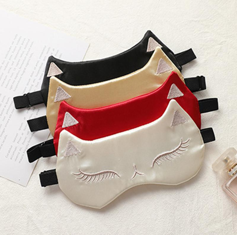 In Stock!!! DHL Cute Cat Sleep Eye Mask Travel Eyepatch Blindfold Cold And Compress Bag Nap EyeShade Sleeping Traveling
