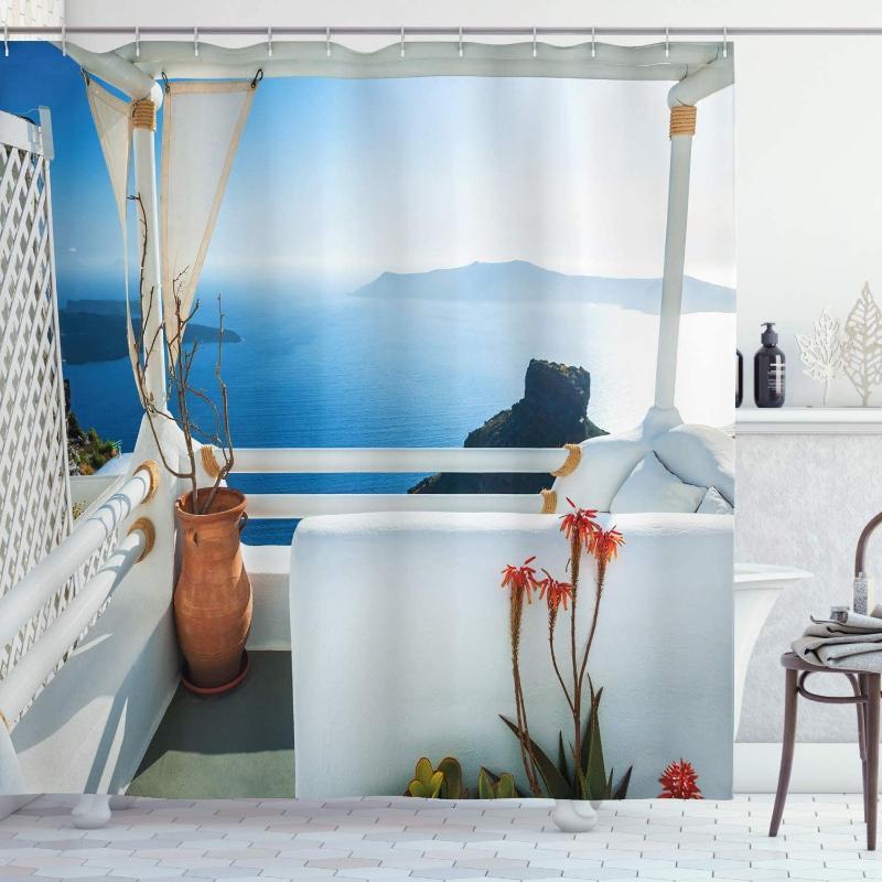 Duschvorhänge Europäischer Vorhang Urlaub Terrasse mit Meer bei Sonnenuntergang Architektur auf Santorini-Insel Griechenland Griechenland Wasserdichte Badezimmer Dekor