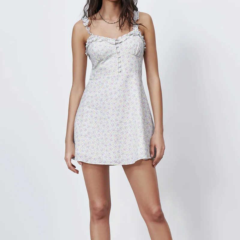 Sommer Frauen Vintage Blumendruck Minikleid Strap Anpassen Damen Chic Kleid Vestidos LY9418 210603