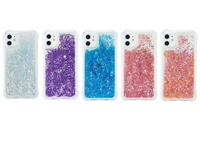 Удароженные жидкие мягкие чехлы TPU для iPhone 12 Mini 5.4 6.1 6.7 2020 11 PRO MAX XR XS MAX 8 7 6 5 Quicksand Bling Blitter Sparkle Плавучая магический смартфон