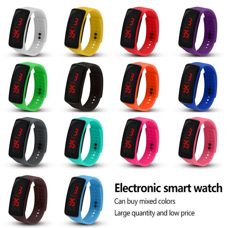 سوار الأساور الذكية من الجيل الثاني، النظارات الشمسية، LED Electronal Watch، هدية الأطفال البلاستيكية للأطفال، على مدار الساعة، تعقب اللياقة البدنية، حزام السيليكون، الوقت # 7