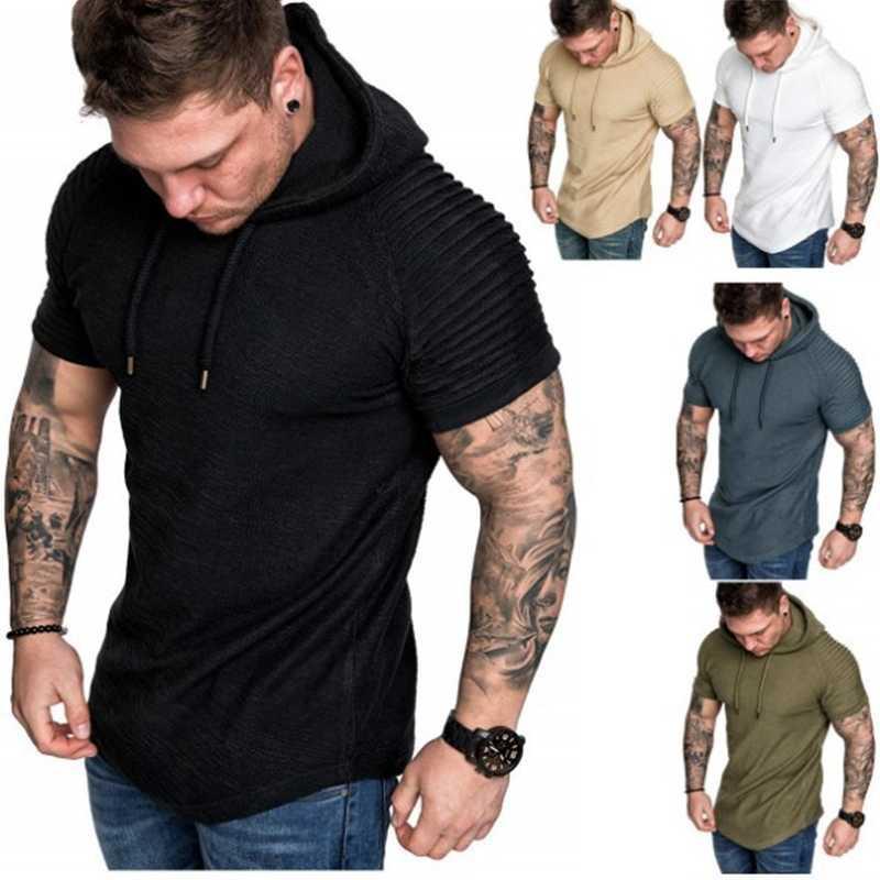 T Gömlek Erkek Yuvarlak Ne İnce Katı Renk Kapüşonlu Kısa Kollu Şerit Pileli Raglan Erkek Giyim
