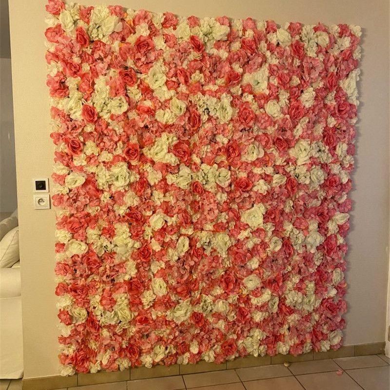 4 unids Seda rosa hortensia baya panel de flores artificial para el hogar Ducha de bebé Decoración de la pared Romántico de la boda Decoración de telón de fondo