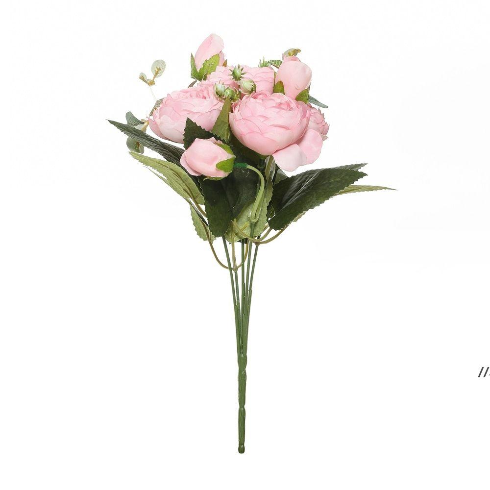 الزهور الاصطناعية الحرير الأحمر الفاوانيا الورود المزهريات ل ديكور المنزل العروس باقة الزفاف اكسسوارات الحرفية ديي هدايا الوردي النباتات وهمية DWD6284