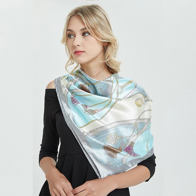 Весна и летние новые шелковые женщины 90см ремень маленький кисточек профессиональный большой квадратный шарф шарф узор