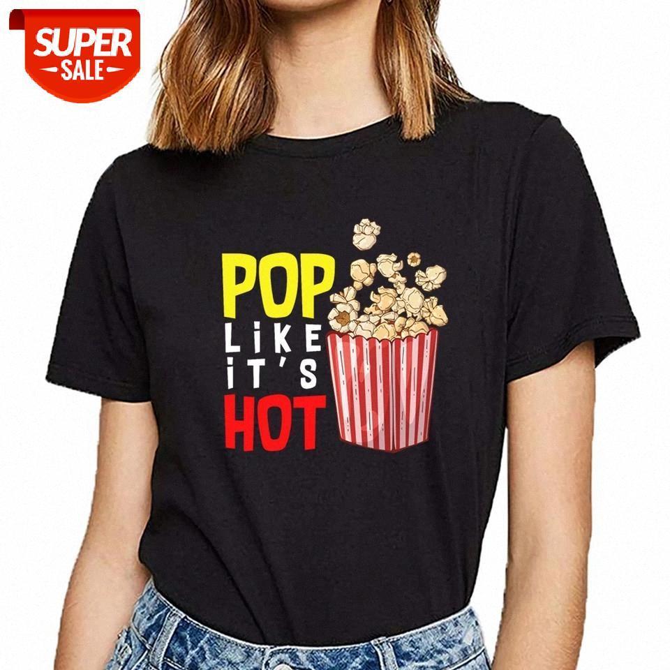 T-shirt das mulheres pipoca pop-lo como sua festa de camisa feminina de fêmea de fêmea de festa de fêmea