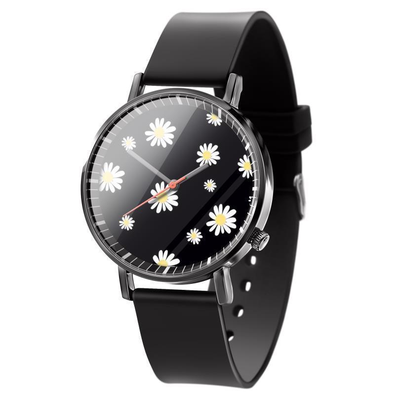 Reloj de Dama 2021 Liebhaber Uhren Mode Schwarz Leder Quarzo Für Frauen Chrysantheme Bild Kinder Armbanduhren