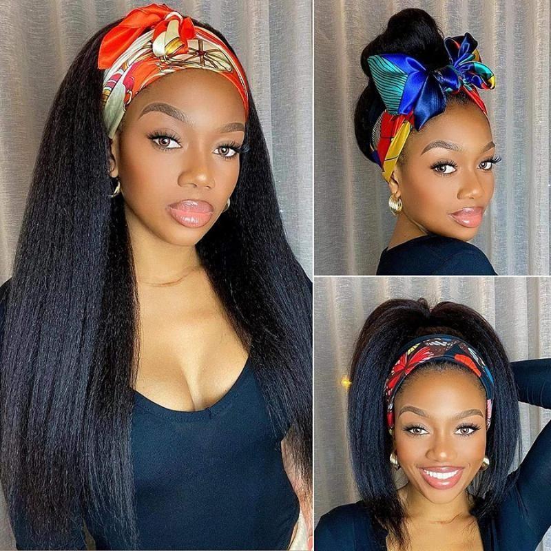 Kinky Düz Kafa Bandı Peruk Uzun Siyah Sentetik İtalyan Yaki Peruk Kadınlar için Eşarp Afrika Amerikalı