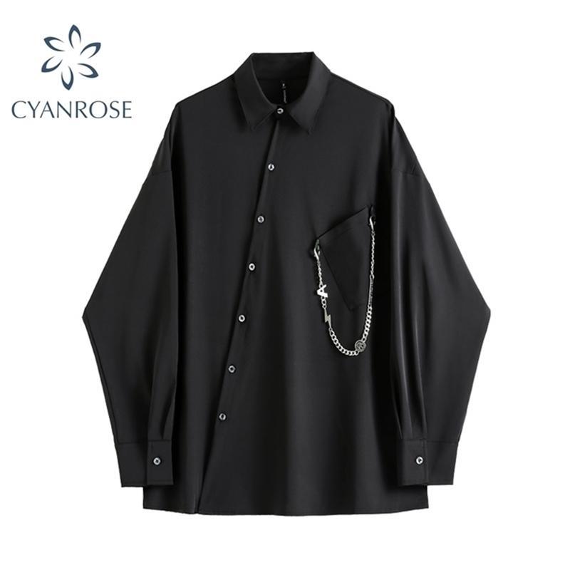 Donne Black Gothic Shirt Autunno Manica lunga Autunno Abbigliamento Abbigliamento casual Streetwear Vintage Harajuku Goth Goth Blusa Top 210515