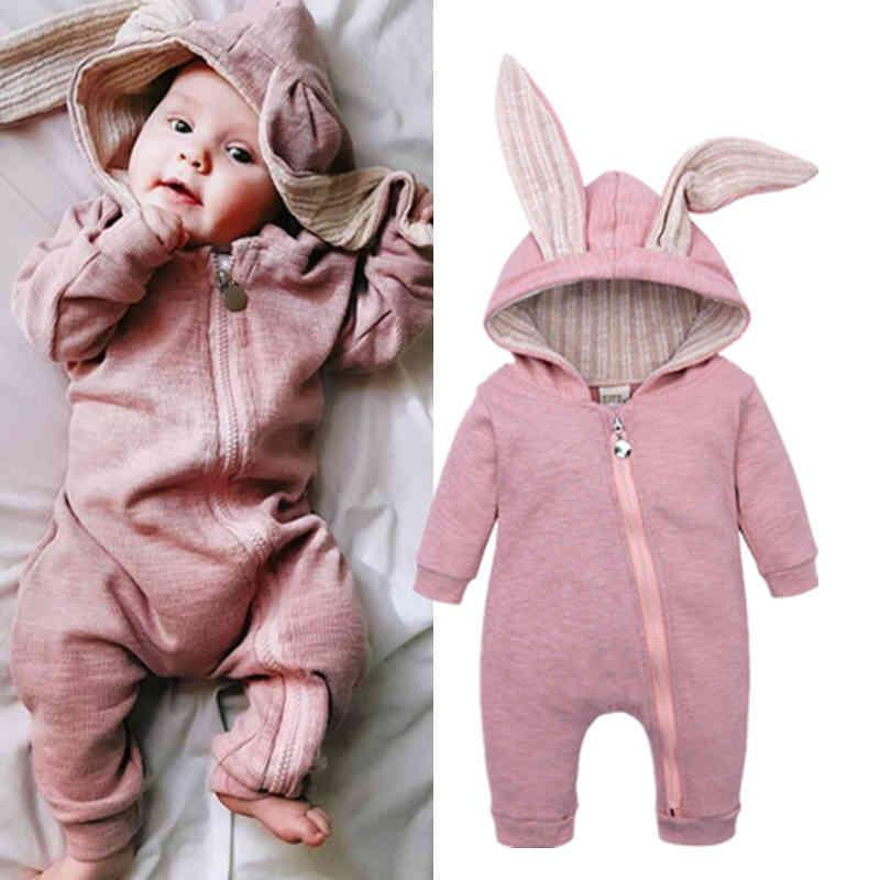 Winter Autumn Newborn Baby Romper Bunny Baby Clothes 1 Year Cotton Hoodie Toddler Warm Girl Fashion Infant Costume Boys Outfits 210427